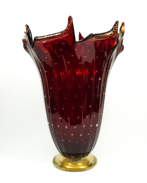 Imperio Rossi (Murano) - Red balloton vase with 24 kt gold leaf