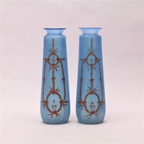 Two Art Nouveau Hand Painted Glass Vases Catawiki