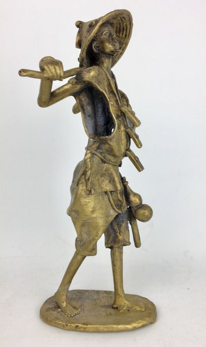 "Unique African Folk Art "" Farmer "" Figure Primitive Statue Brass Sculpture"