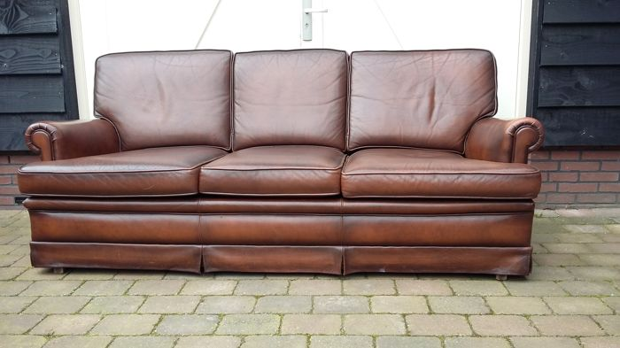 Muylaert, brown leather couch -1st half 21st century, Netherlands
