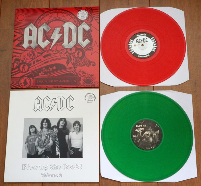 AC/DC - Great lot of 2 limited & numbered unofficial releases: Train Kept A-Rollin (88 copies, red wax!) & Blow Up The Beeb! Volume 2 (135 copies, green wax!). Both have low numbers!