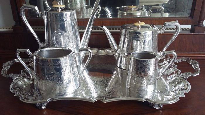 Kendal & dent tea and coffee set with tray silver plated made in england &canada.