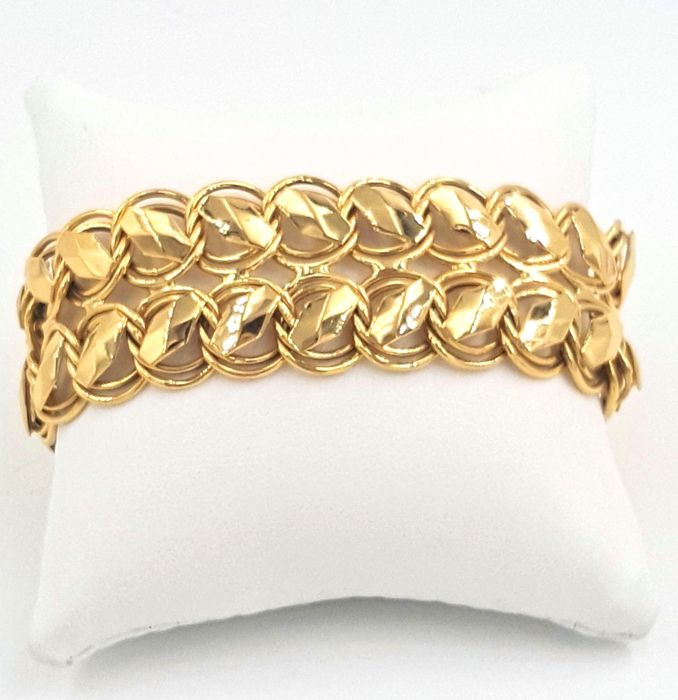 Sadusa branded 18 kt yellow gold chain mail bracelet - Weight 28.77 g - Length 20.5 cm