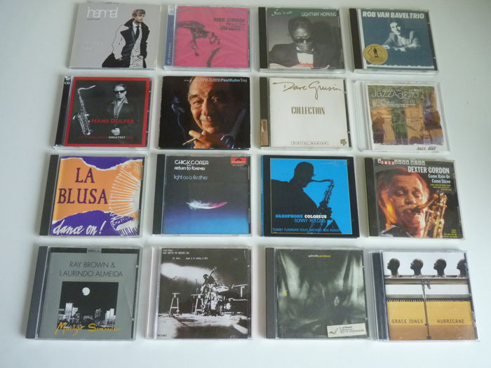 Lot with 16 Jazz, Funk, Soul en Blues cd's: Great names : Chick Corea,Charles Mingus, Sonny Rollins, Dave Grusin, Lightnin'Hopkins, Nina Simone, Dexter Gordon, Ray Brown, Wouter Hamel , Gabrielle Goodman, Grace Jones and others
