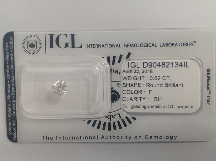 IGL 0.62 F SI1 Natural Diamond  - Round Brilliant   ****No Reserve Price****