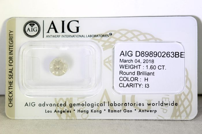 AIG Sealed Diamond - 1.60 ct - H , I3