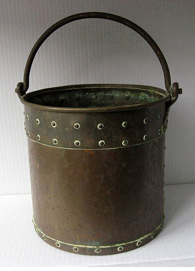 A beautiful riveted copper bucket, Friesland, Netherlands, ca. 1880