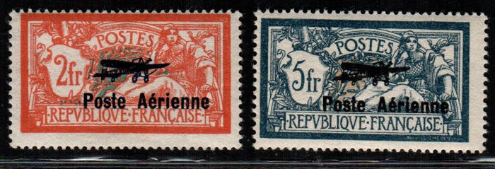 France 1927 - Airmail with overprint - Yvert PA no. 1-2