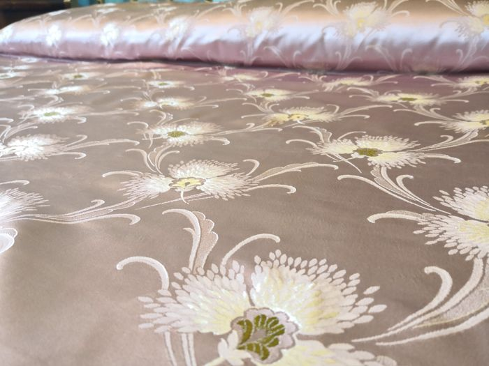 Italy. Antique double bedspread made of fine antique pink silk and Damask fabric.