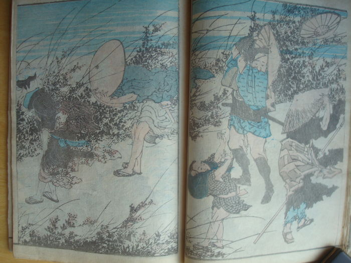 "Original woodblock print book by Katsuhika Hokusai  (1760-1849) - ""Hokusai Gafu"", volume three (ge) - Japan - 1849"
