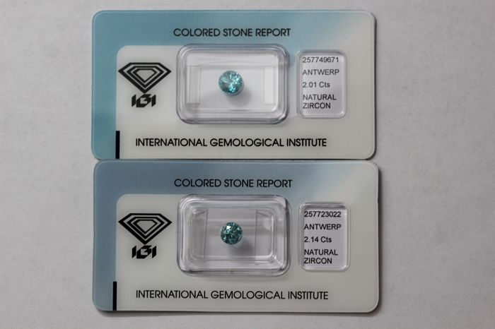 2 Blue Zircons  - Total 4.15 ct