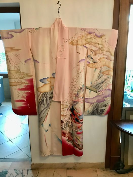 Vintage furisode kimono in silk for girls' 20th birthday ceremony - Japan - Mid-20th century