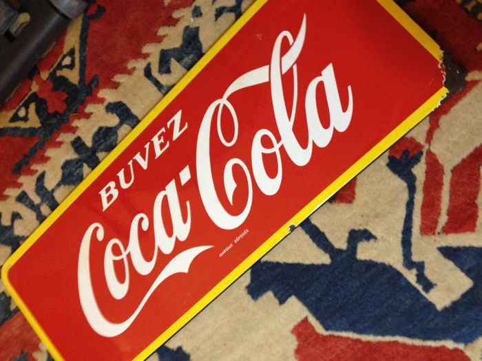 Coca-Cola enamelled advertising plate - 1950s/60s