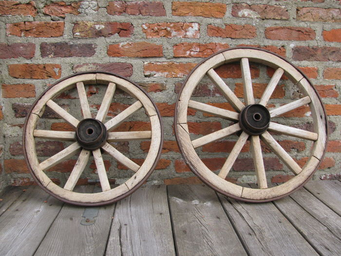 Two wooden wheels for a wagon 1950s, The Netherlands
