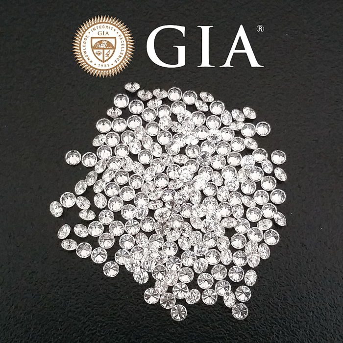 Lot of 169 brilliant cut diamonds 2.31ct, D-F / VVS-VS GIA