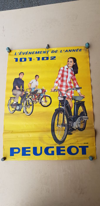 Set of 2 posters of PEUGEOT 101-102 mopeds, years 1968 and 1969.