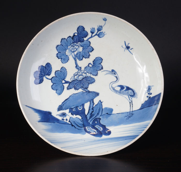 Large blue and white porcelain dish - China - 18th century - Yongzheng period