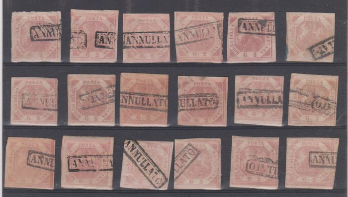 Naples 1858 - Selection of 48 values of 2 grana