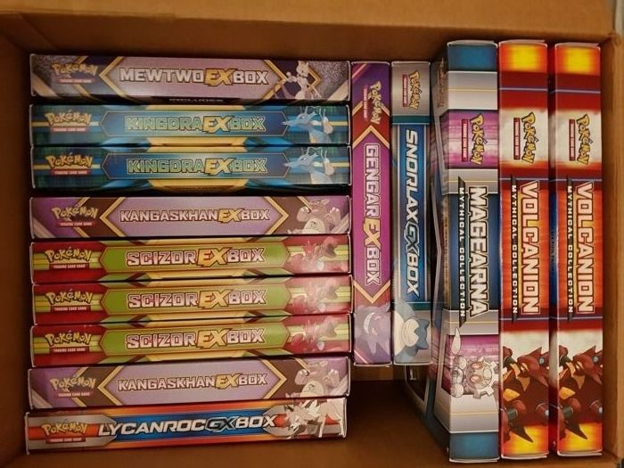 lot of 14 Pokemon EX / GX boxes - ( Mewtwo Kindra Kangaskhan Scizor Lycanroc Snorlax Gengar Magearna Volcanion )