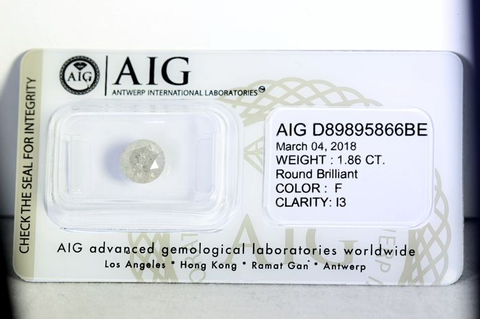 AIG Sealed Diamant - 1.86 ct - F , I3