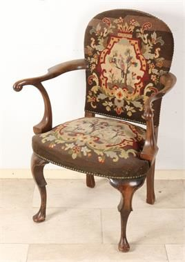 French petit point upholstered Louis Quinze-style armchair, France, 2nd half 19th century