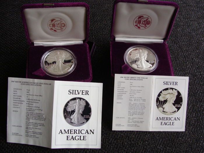 "United States - Dollars 1986 and 1987 ""American Eagle"" - silver"