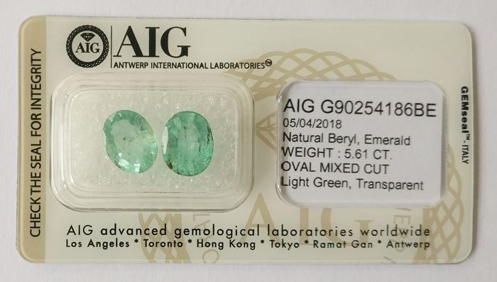 Emerald Light Green 5.61 ct