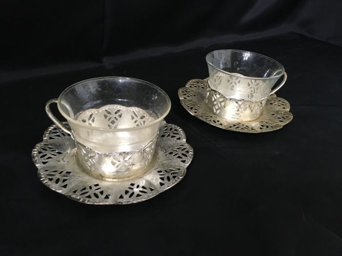 2 Silver Plated Tea Cups with Plates