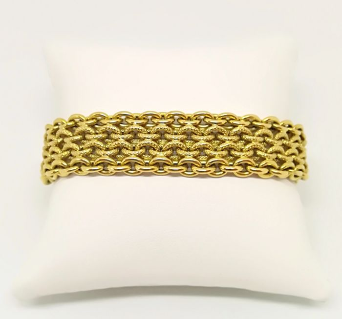 Chain mail yellow gold bracelet by Giulio Marotto, 18 kt, weight: 28.69 g, length: 20 cm