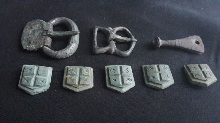 Collection of ancient medieval artifacts belt buckles