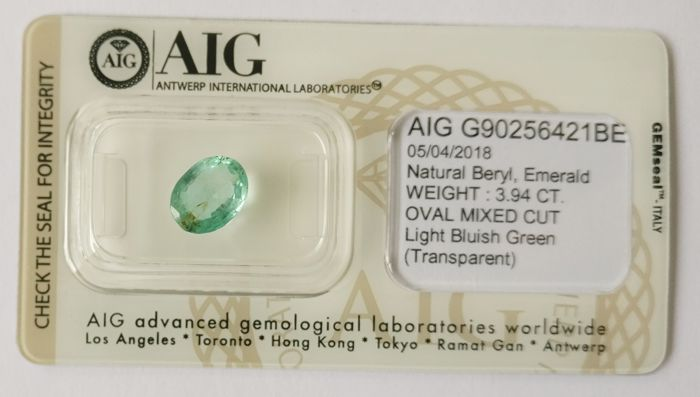 Emerald Light  Bluish Green 3.94 ct *** No Reserve ***