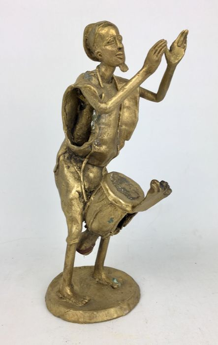 "African Folk Art "" Bongo Musician "" Figure Brass Sculpture"