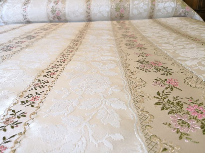 Italy. Antique double bedspread made of fine silk and Damask fabric