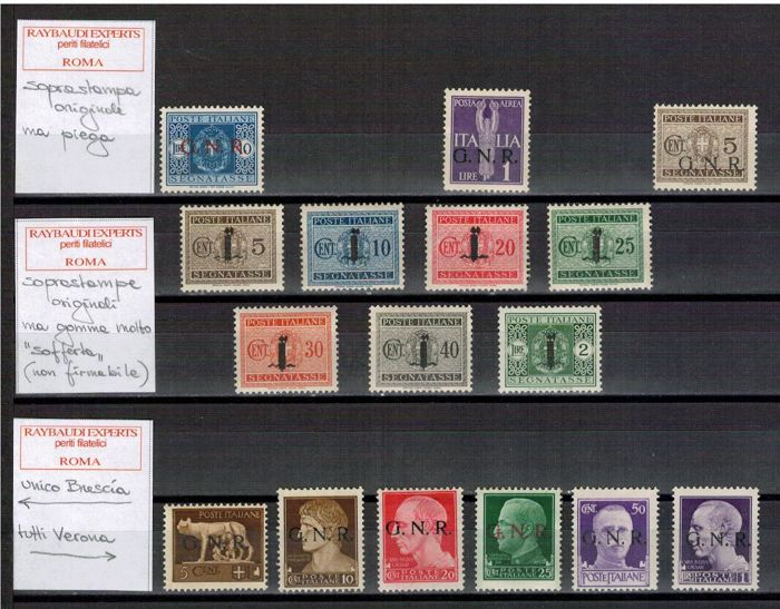 Italy 1944 - R. S.I., selection of stamps from the period