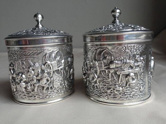Two beautifully decorated tea caddies designed by H. Hooijkaas, the Netherlands, 1960