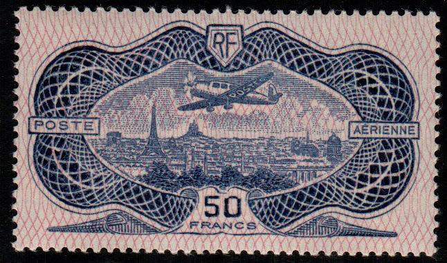 "France, 1936 – Air Mail ""Burelage"" with flying aircraft – Yvert & Tellier catalogue No. 15"