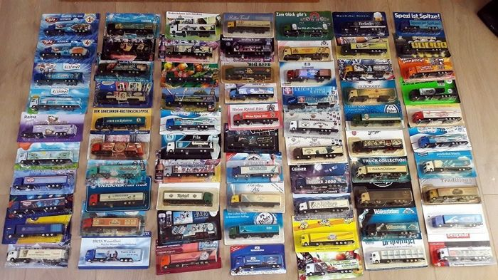 Collection with 70 pieces of advertising trucks 1/87 from approx. 1986 to 2008 original box and mint