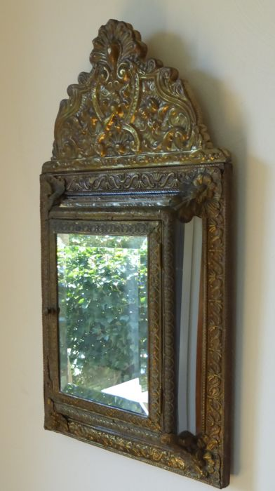 Patinated copper latoen mirror with cabinet