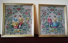 A pair of tapestries from the Gobelins Manufactory framed in gilded wood