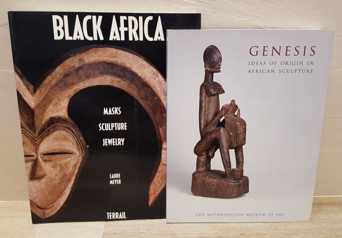 Lot of 2 books: Black Africa: masks, sculpture, jewelry and Genesis: Ideas of Origin in African Sculpture