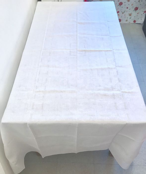 Old tablecloth in cotton and damask linen, with monogram at the centre