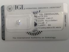 IGL 0.65 F SI3 Natural Diamond  - Round Brilliant 3x EX  ****No Reserve Price****