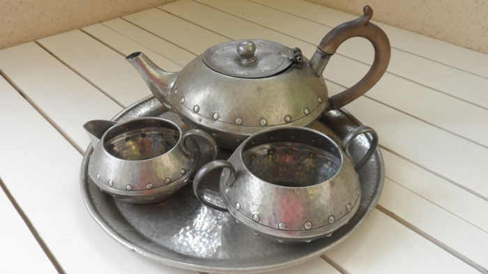Vintage English Pewter Hand Beaten Homeland W & Co Tea set