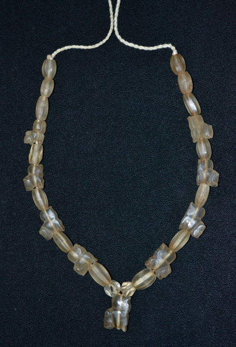 A rock crystal necklace, ritual tiger beads of the Pyu culture, period 200–1000 A.D. - Lower Myanmar