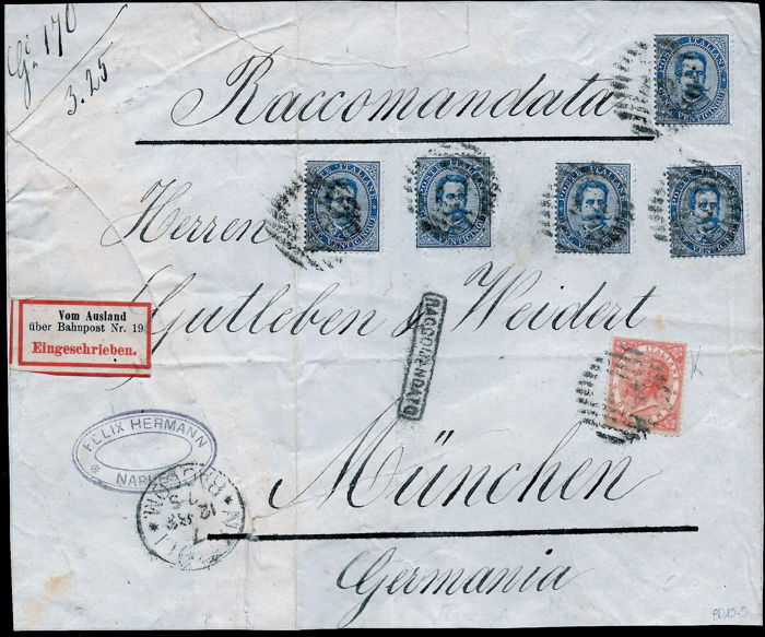 Kingdom of Italy 1863/1879 - Umberto I 2 lire bright scarlet, Sass. T22 + Umberto I 25 cent blue x 5 Sass.  40 on front, registered mail from Naples to Monaco di Baviera 7/12/1883.