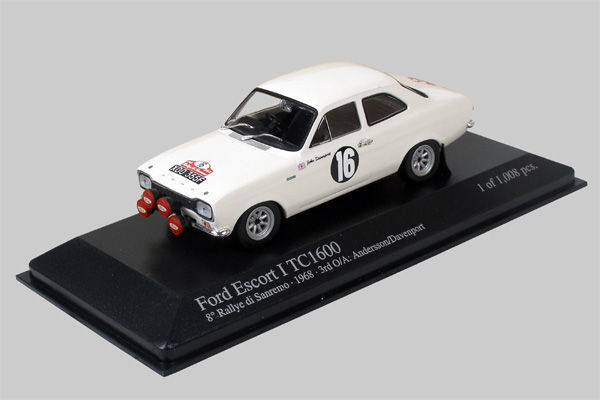MiniChamps - 1:43 - Ford Escort I RS1600 #16 San Remo Rally 1968 - Limited Edition of 1.008 pcs.