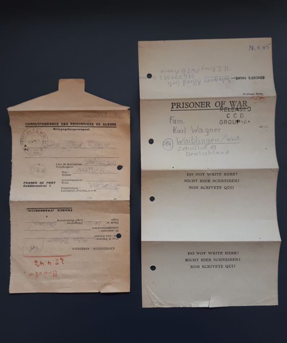 Two letters from German prisoners of war detained in France under ...