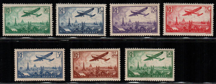 France 1936 - Airmail - Aeroplane in flight - Yvert nos. 8-13