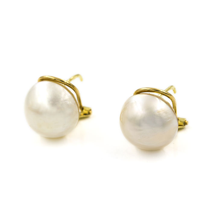 Yellow gold 750/1000 (18 kt)  - Earrings - Pearl - Pearl diameter 11.75 mm (approx)