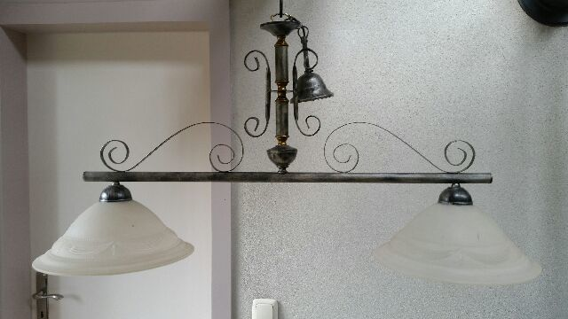 Large wrought iron hanging lamp with 2 light points